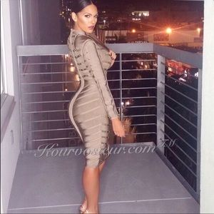 c0a45c48a7a Grey Long Sleeve Bandage Dress. Boutique